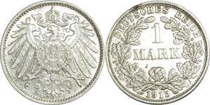 O375 Germany 1 Mark Wilhelm II 1915 F Stuttgart Argent Silver