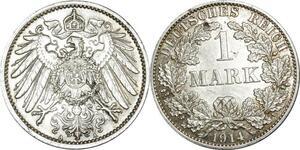 O380 Germany 1 Mark Wilhelm II 1914 A Berlin Argent Silver AU