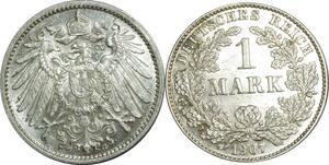 O387 Germany 1 Mark Wilhelm II 1907 G Karlsruhe Argent Silver UNC
