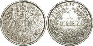 O394 Germany 1 Mark Wilhelm II 1907 E Muldenhütten Argent Silver