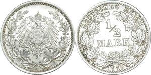 O401 Germany ½ Mark Wilhelm II 1915 A Berlin Argent Silver  UNC