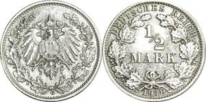 O408 Germany ½ Mark Wilhelm II 1918 G Karlsruhe Argent Silver