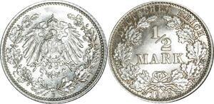 O409 Germany ½ Mark Wilhelm II 1905 E Muldenhütten Argent Silver FDC