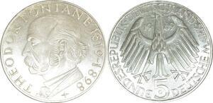 O418 Germany 5 deutsche Mark Theodor Fontane 1969 G Karlsruhe Silver FDC