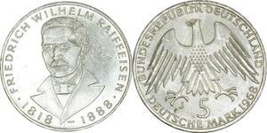 O424 Germany 5 deutsche Wilhelm Raiffeisen 1968 J Hambourg Silver SUP