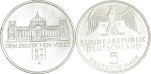 O425 Germany 5 deutsche 100 ans du deuxième Reich 1971 G Karlsruhe Silver FDC