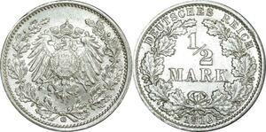 O442 Germany ½ Mark Wilhelm II 1916 G Karlsruhe Argent Silver UNC