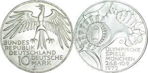O452 Germany 10 deutsche Mark JO Münich 1972 J Hambourg Silver FDC
