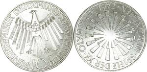 O457 Germany 10 deutsche Mark JO Munich 1972 D Munich Argent Silver UNC