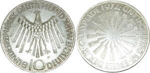 O463 Germany 10 deutsche Mark JO Munich 1972 F Stuttgart Argent Silver PP PF