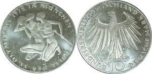 O473 Germany 10 deutsche Mark JO Münich 1972 G Karlsruhe Silver UNC