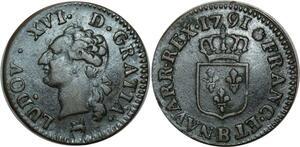 O515 Rare Louis XVI liard de bronze 1791 B Rouen 2nd semestre ->FO
