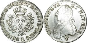 O525 Ecu Louis XVI branches d'oliviers 1786 L Bayonne Argent Silver TTB+++