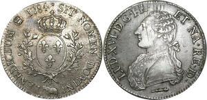 O527 Rare Ecu Louis XVI branches d'olivier 1784 Pau TTB++ Argent