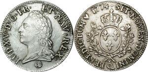 O530 Ecu au Bandeau Louis XV 1774 Q Perpignan cheveux visibles SUP