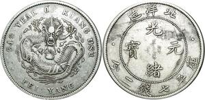 O545 Chihli Pei Yang Arsenal Year 34 1908 L&M-465 Y-73.2 Silver XF
