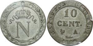 O553 France 10 Centimes N Couronné Napoléon I 1809 A Paris PCGS AU58