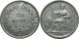 O574 Fausse Indochina French Indochina 20 Cents 1920 A Paris Argent Silver SUP