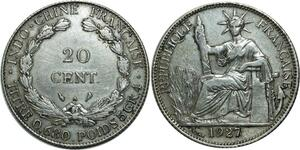 O586 French Indochina 20 Cents 1927 A Paris Double Die Silver