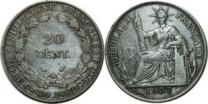 O588 Indochina French Indochina 20 Cents 1937 A Paris Argent Silver