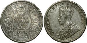 O633 Inde India Britannique 1 Roupie George VI 1919 Argent Silver UNC