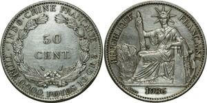 O667 Indochina 50 Cents 1936 Argent Silver AU