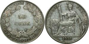 O668 Indochina 50 Cents 1936  Argent Silver AU
