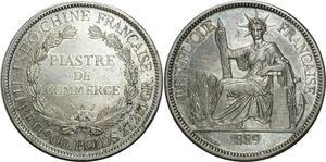 O669 Scarce Indochina 1 Piastre 1889 A Paris Argent Silver AU !!!