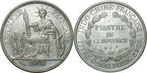 O673 Indochina 1 Piastre 1903 A Paris Argent Silver AU !!!