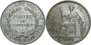 O692 Indochina 1 Piastre 1909 A Paris Argent Silver