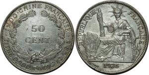 O698 Indochina 50 Cents 1936  Argent Silver AU