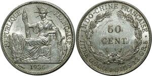 O699 Indochina 50 Cents 1936  Argent Silver AUNC