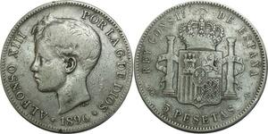 O723 Spain 5 pesetas Alphonse XIII 1896 *96 Argent Silver
