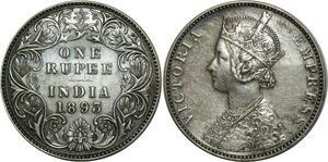 O740 British India Roupee Victoria 1893 Argent Silver AU