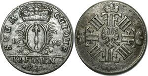 O777 Brandebourg-Prusse 1/12 thaler Friedrich III 1693 Argent Silver