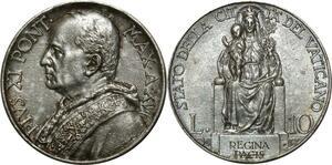 O783 Vatican 10 lire Pie XI 1937 Argent Silver UNC !!