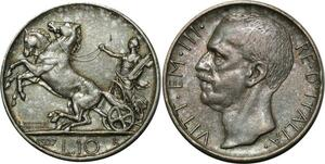 O784 Italy 10 lire Victor-Emmanuel III 1927 Argent Silver UNC