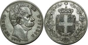 O788 Italy 5 lire Umberto I 1879 R Roma Argent Silver