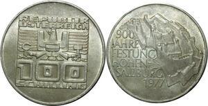 O791 Autriche 100 schilling Forteresse de Hohensalzburg 1977 Argent Silver UNC