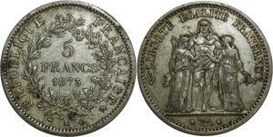 O873 5 Francs Hercule 1873 K Bordeaux Argent Silver