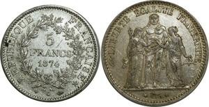 O876 5 Francs Hercule 1874 K Bordeaux Argent Silver