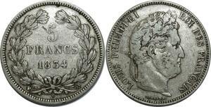 O886 5 Francs Louis Philippe I 1834 Q Perpignan Argent Silver