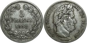 O888 5 Francs Louis Philippe I 1838 BB Strasbourg Argent Silver