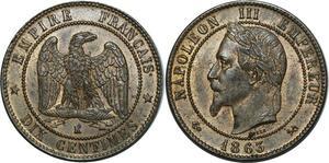 O890 10 Centimes Napoléon III 1863 K Bordeaux Splendide