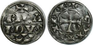 O899 Rare Richard Ier Cœur Lion 1169-1189 denier Aquitaine Rica RDVS Argent