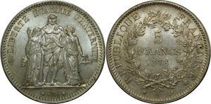 O907 Rare 5 Francs Hercule 1876 A Paris Argent Silver FDC !!!
