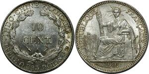 O920 Scarce Indo China 10 centimes 1901 A Paris Argent Silver UNC MS !!!