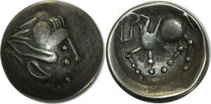O1012 Rare !!! Dacie Celtes Danube imitation Philippe II tétradrachme Silver