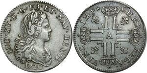 O1018 Rare Louis XV 1715-1774 Petit Louis d'argent 1720 A Paris 1er sem Argent