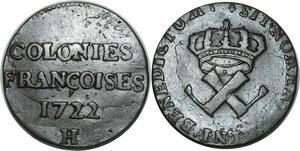 O1022 Rare !! Amérique Louis XV 9 deniers colonies américaines 1722 H Rochelle